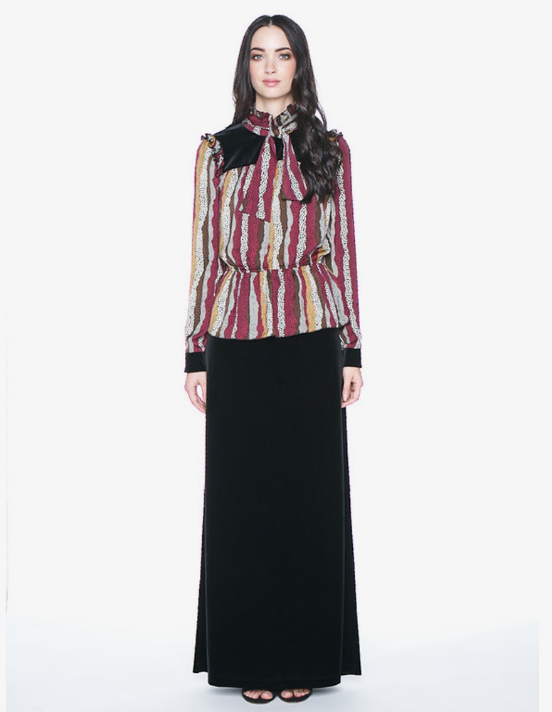 Bordeaux ruffled blouse with bow and Black velvet skirt, Fabric Made ...